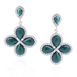 Sterling Silver Malachite & White Topaz Earrings