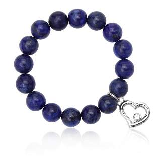 12mm Lapis Bead and Heart Charm Stretch Bracelet