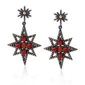14K Silver Red Agate & Marcasite Starburst Earrings