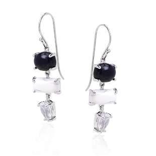 Sterling Silver Multi Gemstone Drop Earrings