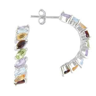 Multi-Gemstone J-Hoop Sterling Silver Earrings