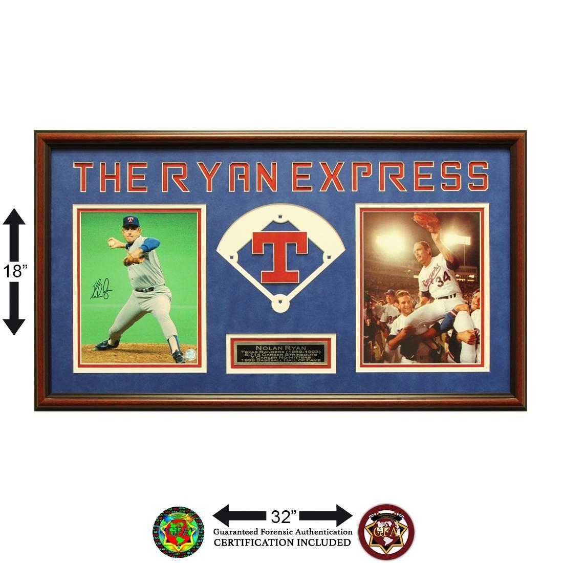 Nolan Ryan Texas Rangers 20x16 Framed signed GFA