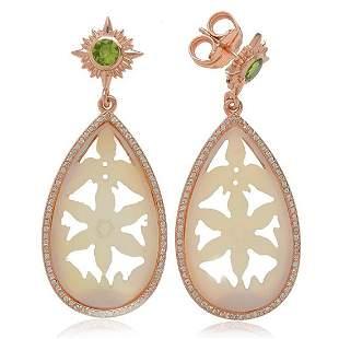 Sterling Silver Mother of Pearl & Peridot Earrings