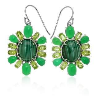 Sterling Malachite & Peridot Dangle Earrings
