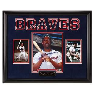 Hank Aaron Atlanta Braves Custom Frame Signed GFA