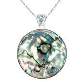 Silver Adventurine & Abalone Reversible Pendant