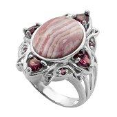Sterling Silver Rhodocrosite & Garnet Ring-SZ 10