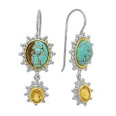 Sterling Silver Turquoise & Citrine Drop Earrings