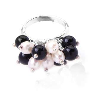 Italy Sterling Silver Pearl & Agate Bead Ring SZ 7