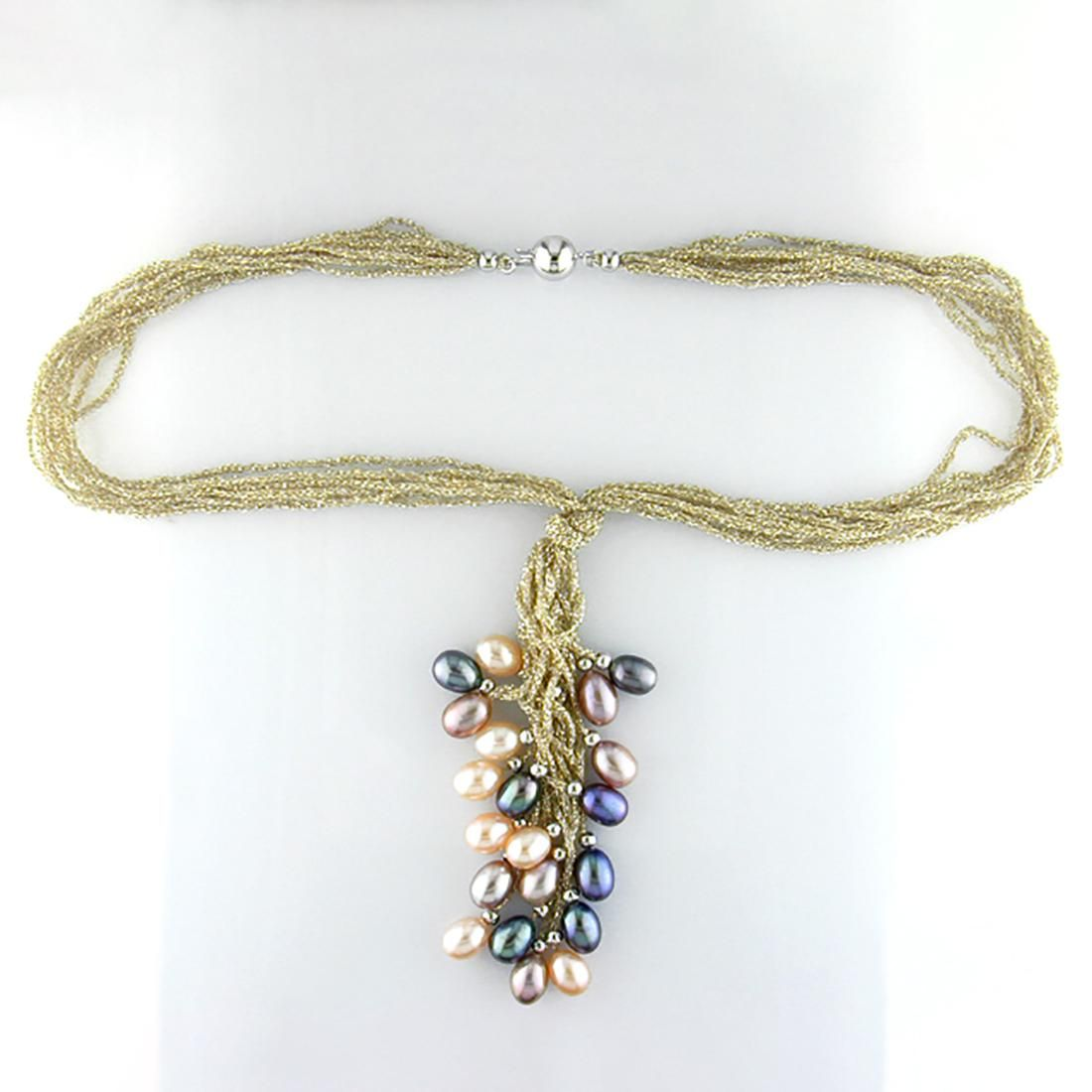 16 inch Multi Strand Gold Corded Pearl Y Necklace