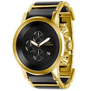 Vestal Plexi Leather Watch - Gold/Black