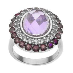 Silver Amethyst & Gemstones Halo Ring-SZ 10