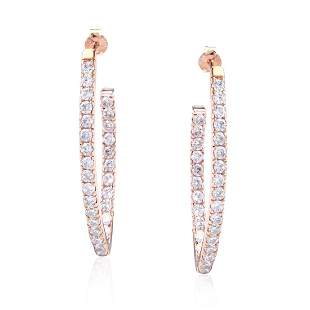 Rose Gold Plated /Sterling Marquise Hoop Earrings