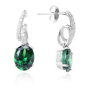Sterling Silver Green CZ Dangle Earrings