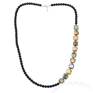 Faceted Black Agate and Pearl Necklace
