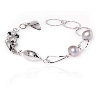 "Sterling Silver Grey Pearl Bracelet 7.25"""