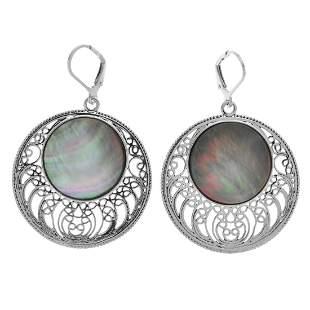 Sterling Silver Black MOP Openwork Drop Earrings