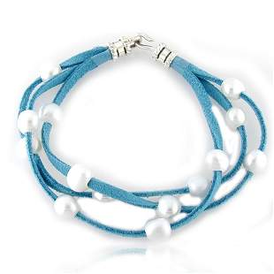 Sterling Silver Multi Strand Pearl Cord Bracelet