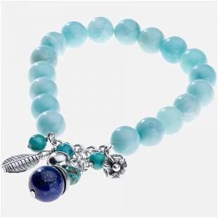 "Silver Amazonite & Lapis Charm Bead Bracelet 7"""