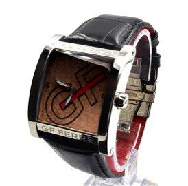 GF Ferre Repeating Logo Dial Ladies Watch - Black