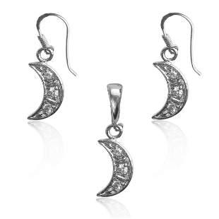 Sterling White CZ Shiny Moon Pendant&Earrings Set