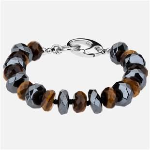 "Silver Tiger Eye and Hematite Bead Bracelet 7.5"""
