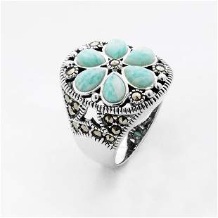 Sterling Silver Marcasite & Amazonite Ring-SZ 6