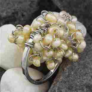 Sterling Silver Rice Pearl Dangle Charm Ring SZ-7