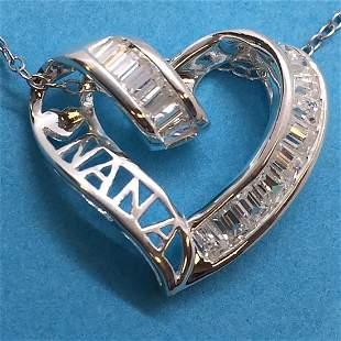 Sterling White CZ Heart LOVE NANA Pendant w/Chain