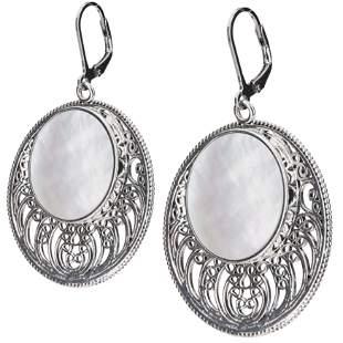 Sterling silver White MOP Openwork Disc Earrings