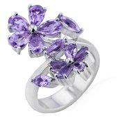 Sterling Silver Amethyst Flower Bypass Ring-SZ 9