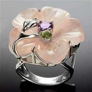 Sterling Silver Multi Gemstone Flower Ring Size7.5