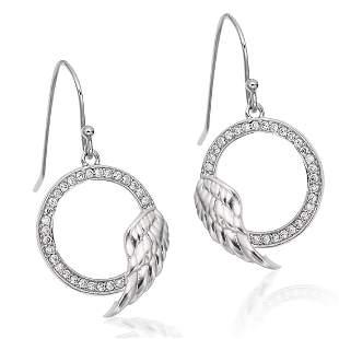 Sterling Silver Angel Wing White CZ Earrings