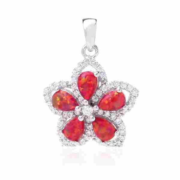 STERLING SILVER RED OPAL ZIRCON FLOWER PENDANT