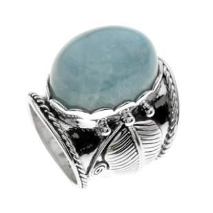 Sterling Silver Aquamarine Leaf Band Ring-SZ 8