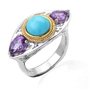 2 Tone Sterling Turquoise & Amethyst Ring SZ 7