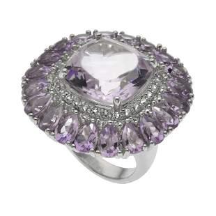 Silver 18.94ct Pink Amethyst Flower Ring-SZ 8