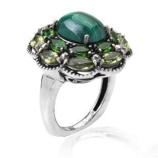 Sterling Silver Malachite & Gemstones Ring SZ 7