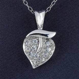 Sterling Silver Heart & Leaf White CZ Pendant