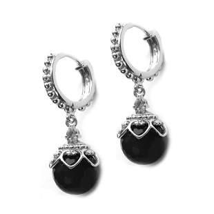 Sterling Silver 12mm Black Onyx Bead Hoop Earrings