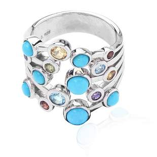 Sterling Silver Turquoise&Multi Gemstone Ring SZ 7