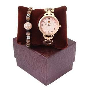 Louis Richard Watch-Rose Gold & Stretch Bracelet