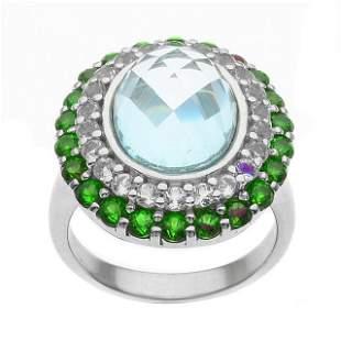 Silver Sky Blue Topaz & Gemstones Halo Ring-SZ 6