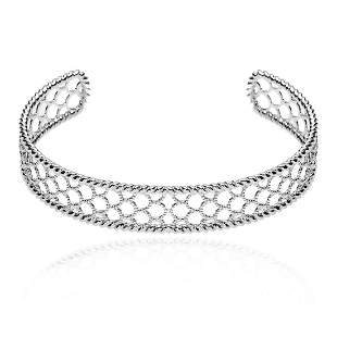 Sterling Silver Diamond Cut Cuff Bangle