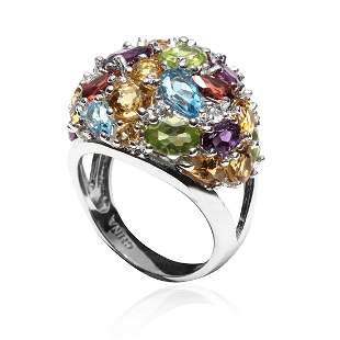 Multi Gems Dome S/S Ring SZ 7