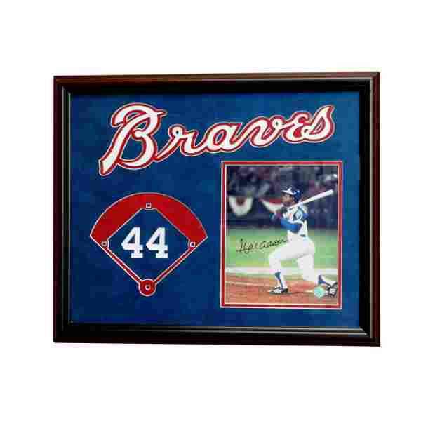 Hank Aaron Atlanta Braves Framed 20x16 sigend GFA