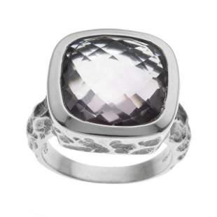 Silver Checkerboard Cut Pink Amethyst Ring-SZ 5