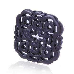 Carved Black Knot Pattern Loose Stone