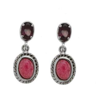 Sterling Silver Rhodonite & Garnet Dangle Earrings