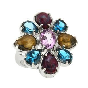 Sterling Silver Multi Gemstone Flower Ring-SZ 6